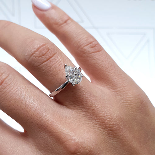 Jessica Moissanite Ring - 1.5 Carat Pear Shaped D VVS1 Engagement Ring - 14K White Gold #M10045