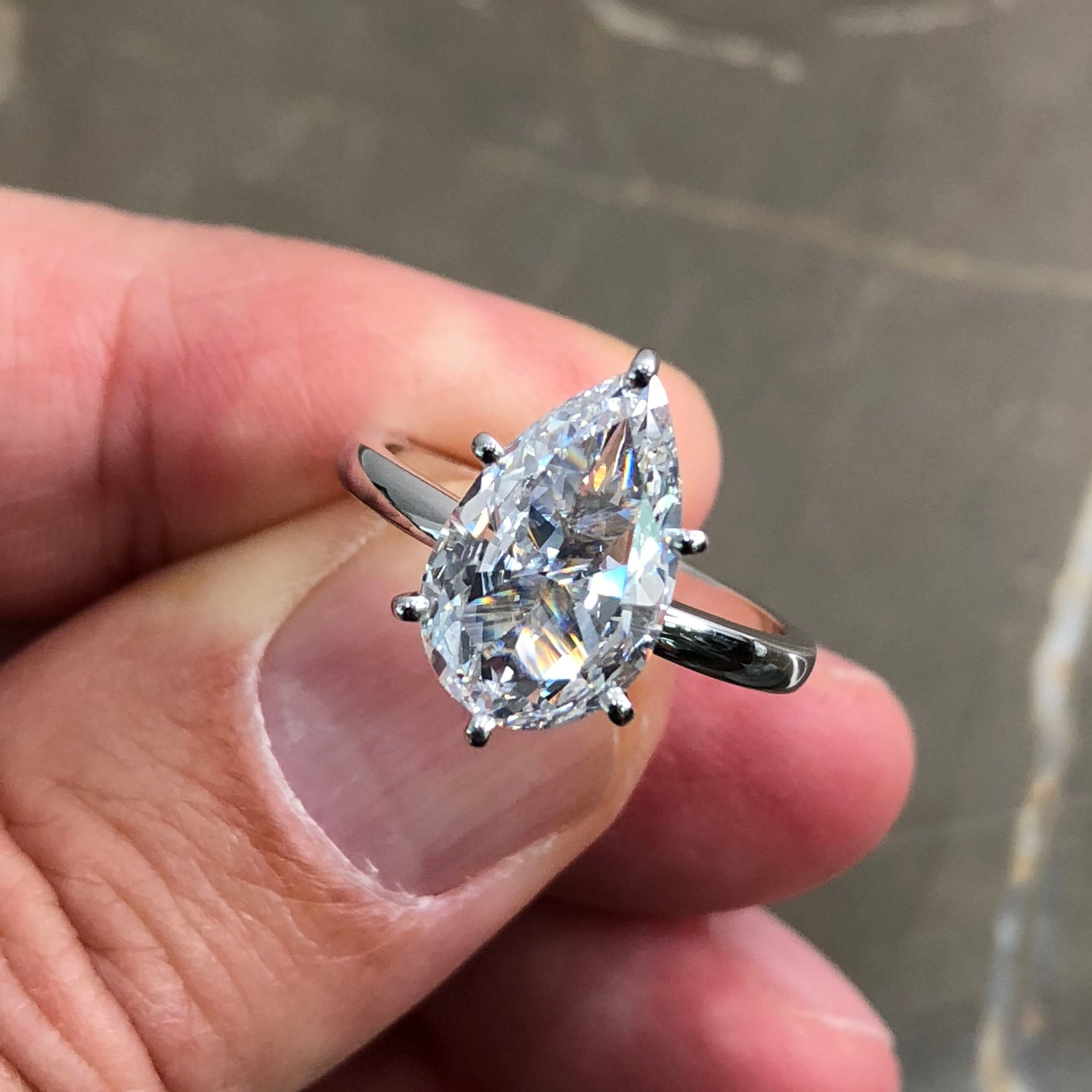 5 Carat Pear Shaped F VS2 Diamond Solitaire Engagement Ring - 14K White Gold #J99151
