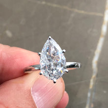 Load image into Gallery viewer, 5 Carat Pear Shaped F VS2 Diamond Solitaire Engagement Ring - 14K White Gold #J99151