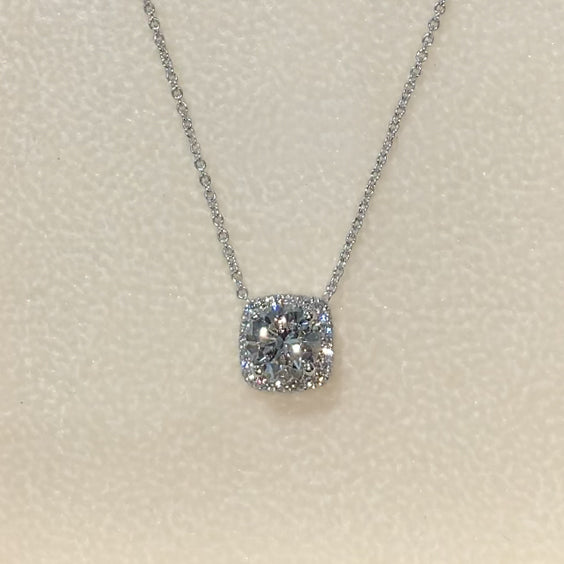 14K White Gold Diamond Necklace Pendant - 1.25 Carat Cushion Halo Style #J99255