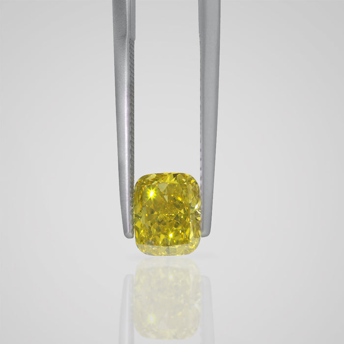 1.55 Carat Cushion Fancy Canary Yellow VS2 Natural Certified Loose Diamond - Best Brilliance
