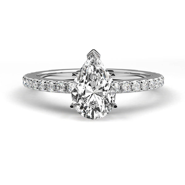 1.18 Carat Pear G SI1 - 14K White Gold Diamond Engagement Ring #J19180 - Best Brilliance