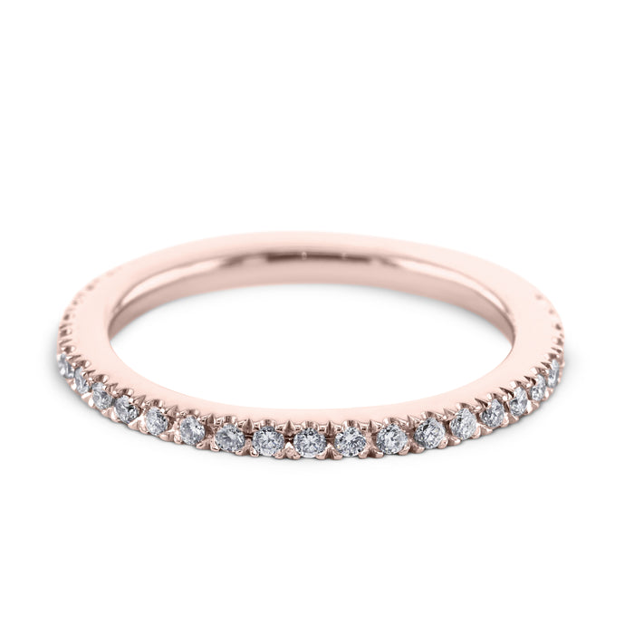0.3 Carat Diamond Wedding Band - 18K Rose Gold Classic Setting #SR322W_RDR2