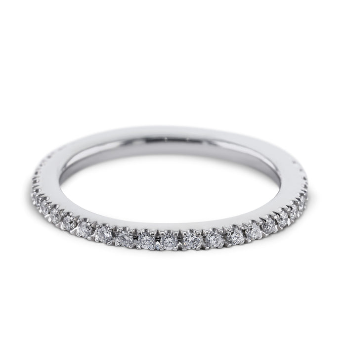0.3 Carat Diamond Wedding Band - 18K White Gold Classic Setting #SR322W_RD2