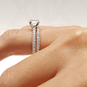 The Stephanie Bridal Set - 1.5 Carat Oval E VS2 - 14K White Gold Diamond Ring & Wedding Band #J99228