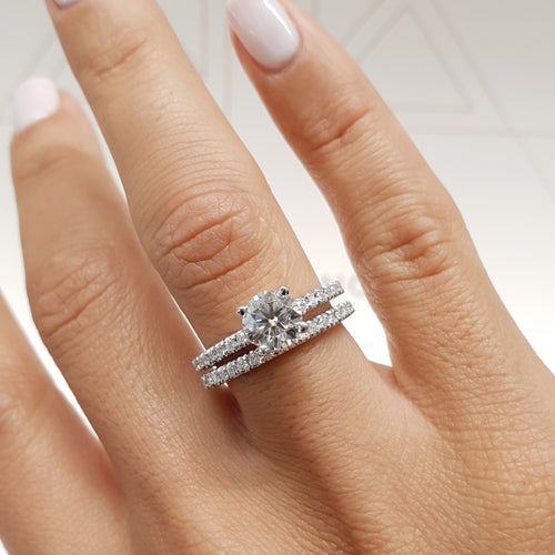 The Stephanie Bridal Set - 1.6 Carat Round Diamond Engagement & Wedding Ring Set - 14K White Gold #J99912