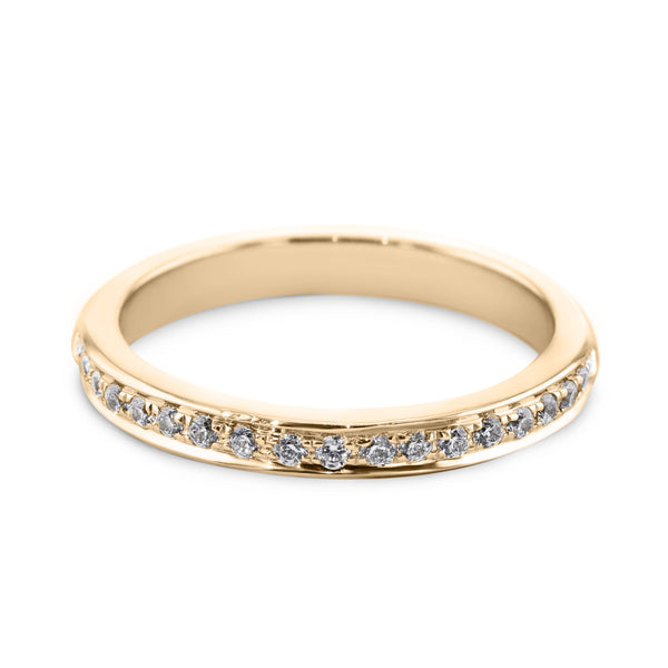 0.18 Carat Diamond Wedding Band - 18K Yellow Gold Channel Setting #SR504W_RDY2