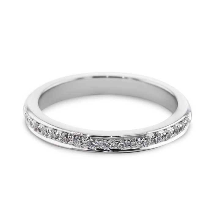 0.18 Carat Diamond Wedding Band - 18K White Gold Channel Setting #SR504W_RD2