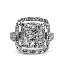 Load image into Gallery viewer, The Piper Engagement Ring - 4 Carat Cushion Shaped Double Halo Engagement Ring - 14K White Gold #J99949
