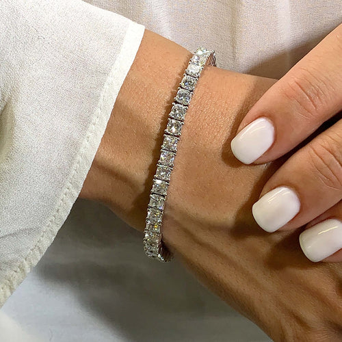 The Natasha Tennis Bracelet - 15 CARAT E-F VS CUSHION DIAMONDS #T10050