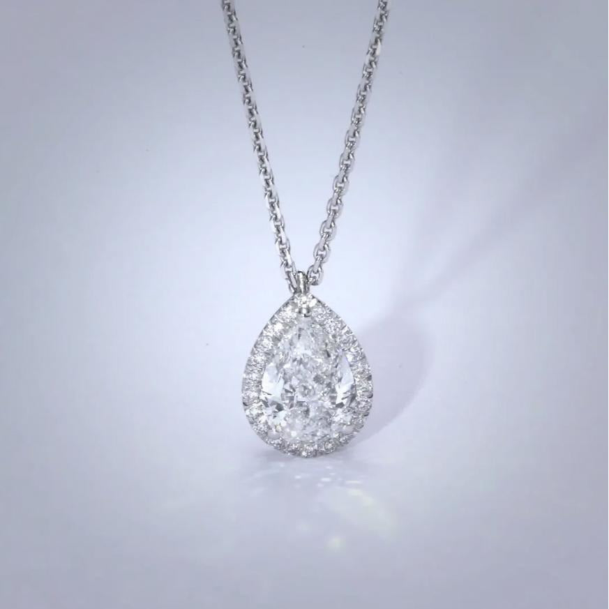 The Nancy Necklace - 2 Carat Pear Shaped Halo Pendant