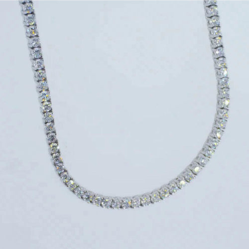 6 CARAT COLORLESS, EYE CLEAN & SPARKLY TENNIS NECKLACE - 14K WHITE GOLD 17