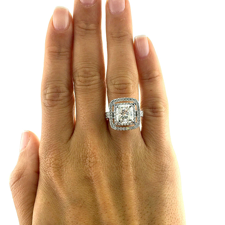 The Piper Engagement Ring - 4 Carat Cushion Shaped Double Halo Engagement Ring - 14K White Gold #J99949
