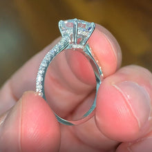 Load image into Gallery viewer, The Cassandra Engagement Ring - 2 CARAT CUSHION SHAPED HIDDEN HALO DIAMOND RING - 14K WHITE GOLD #J99256