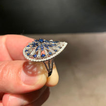Load image into Gallery viewer, 18K White Gold Sapphire & Diamonds Engagement Ring - 1.81 Carat Pear Shaped #J99267