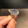 18K White Gold Sapphire & Diamonds Engagement Ring - 1.81 Carat Pear Shaped #J99267