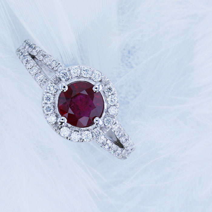 1.23 Carat Red Ruby Gemstone Engagement Halo Ring - 14K White Gold #BBG10002