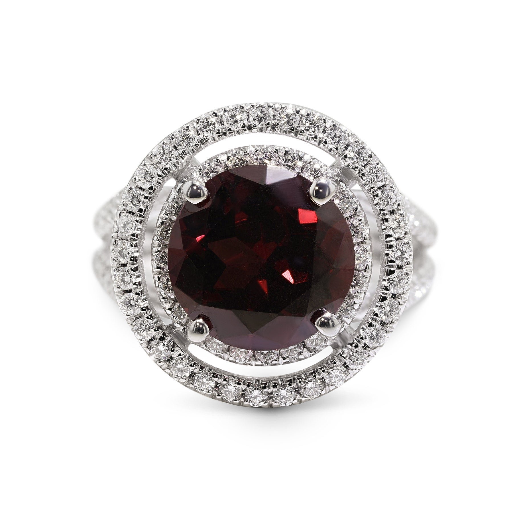 5 CARAT NATURAL RED TOURMALINE - 14K WHITE GOLD DOUBLE HALO ENGAGEMENT RING #BBG10003