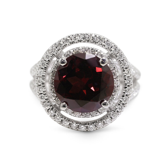 5 CARAT NATURAL RED TOURMALINE - 14K WHITE GOLD DOUBLE HALO ENGAGEMENT RING #J99114