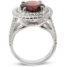 Load image into Gallery viewer, 5 CARAT NATURAL RED TOURMALINE - 14K WHITE GOLD DOUBLE HALO ENGAGEMENT RING #BBG10003