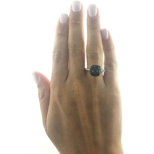 6.18 Carat Natural Cushion Shaped Light Green Gemstone - 14K White Gold Ring #BBG10007