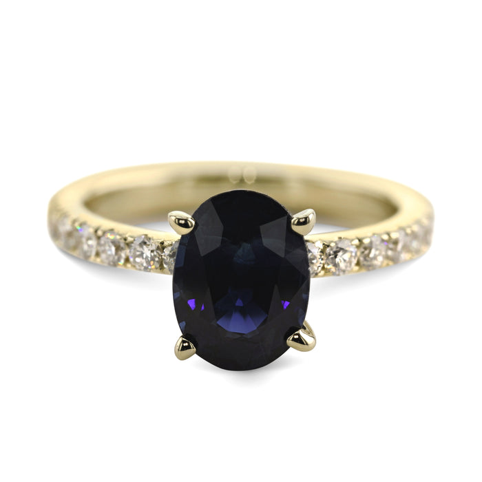 3.16 Carat Natural Blue Sapphire Oval Shaped - 14K Yellow Gold Ring #G10009