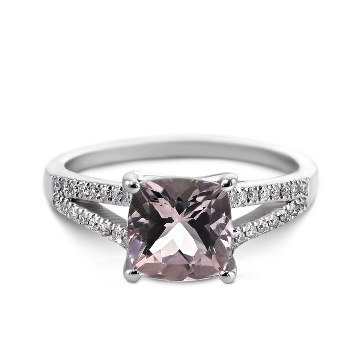 Light Pink Cushion Shaped Morganite set in a lovely 14K White Gold Split Shank Ring #G10004A