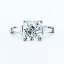 3 CARAT CUSHION SHAPED DIAMOND - 14K WHITE GOLD 3 STONES ENGAGEMENT RING