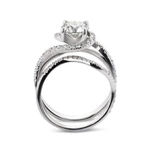 Load image into Gallery viewer, 1.7 CARAT F VS TWISTED DESIGN ENGAGEMENT & WEDDING RINGS SET - 14K WHITE GOLD #J99957