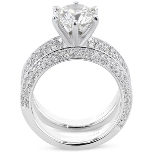 The Haven Bridal Set - 3.5 CARAT KNIFE EDGE DIAMOND ENGAGEMENT & WEDDING SET - 18K WHITE GOLD #J99951