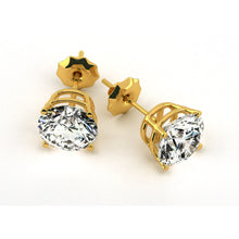 Load image into Gallery viewer, 1 CARAT F-G COLOR SI1-SI2 CLARITY DIAMOND STUD EARRINGS - 18K YELLOW GOLD #E1002