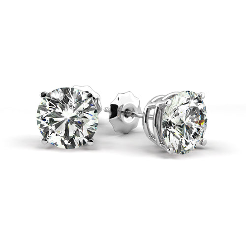 0.75 Carat G Color SI1 Clarity Diamond Stud Earrings - 14K White Gold