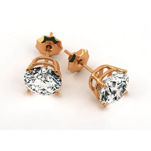 2 Carat D Color SI1 Clarity Diamond Stud Earrings - 14K Rose Gold #E1004