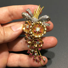 Load image into Gallery viewer, 5.6 Carat Diamonds & Rubies Platinum and 18K Yellow Gold Floral Antique Pin #J99127