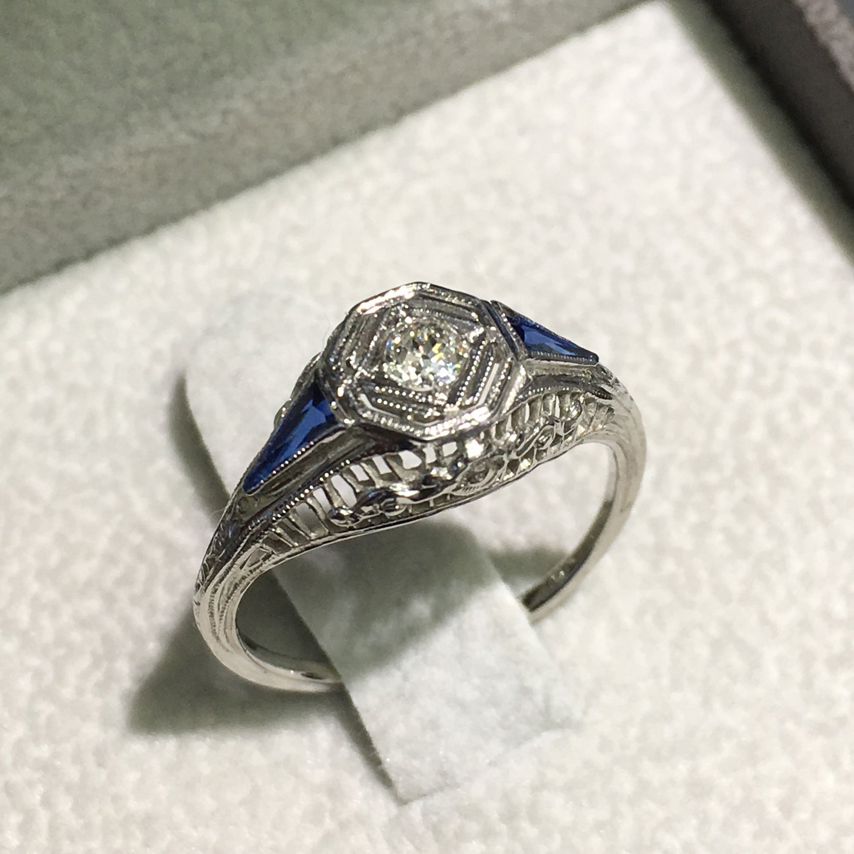Lady's Antique Engagement - 18K White Gold set Diamond and Two Blue Sapphire #J99128