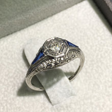 Load image into Gallery viewer, Lady's Antique Engagement - 18K White Gold set Diamond and Two Blue Sapphire #J99128