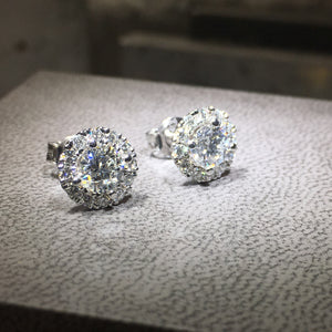 1.50 Carat Round Cut Diamond HALO Style Earrings - 14K White Gold #J99914