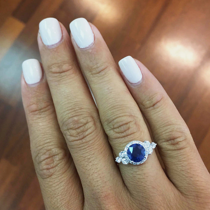 1.85 Carat Blue Sapphire Halo Diamond Engagement Ring - 14K White Gold #BBG10001