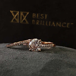 The Anna Bridal Set - 2 CARAT ROUND CUT DIAMOND ENGAGEMENT & WEDDING RING SET - 14K ROSE GOLD #J99115