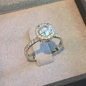 14K YELLOW GOLD HALO DIAMOND ENGAGEMENT RING STYLE - 1.15 CARAT D VS2 ROUND CUT #J99945