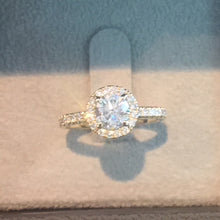 Load image into Gallery viewer, 14K YELLOW GOLD HALO DIAMOND ENGAGEMENT RING STYLE - 1.15 CARAT D VS2 ROUND CUT #J99945