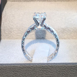 1.5 CARAT F SI1 ROUND BRILLIANT DIAMOND - 18K WHITE GOLD VINTAGE HANDCRAFTED RING #J99944