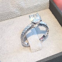 Load image into Gallery viewer, 1.5 CARAT F SI1 ROUND BRILLIANT DIAMOND - 18K WHITE GOLD VINTAGE HANDCRAFTED RING #J99944