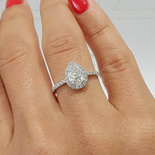 Load image into Gallery viewer, The Sophia Engagement Ring - 2 Carat PEAR SHAPE HALO STYLE DIAMOND RING - 14K WHITE GOLD #J99163