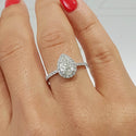 PEAR SHAPE HALO STYLE DIAMOND ENGAGEMENT RING - 14K WHITE GOLD #J99163