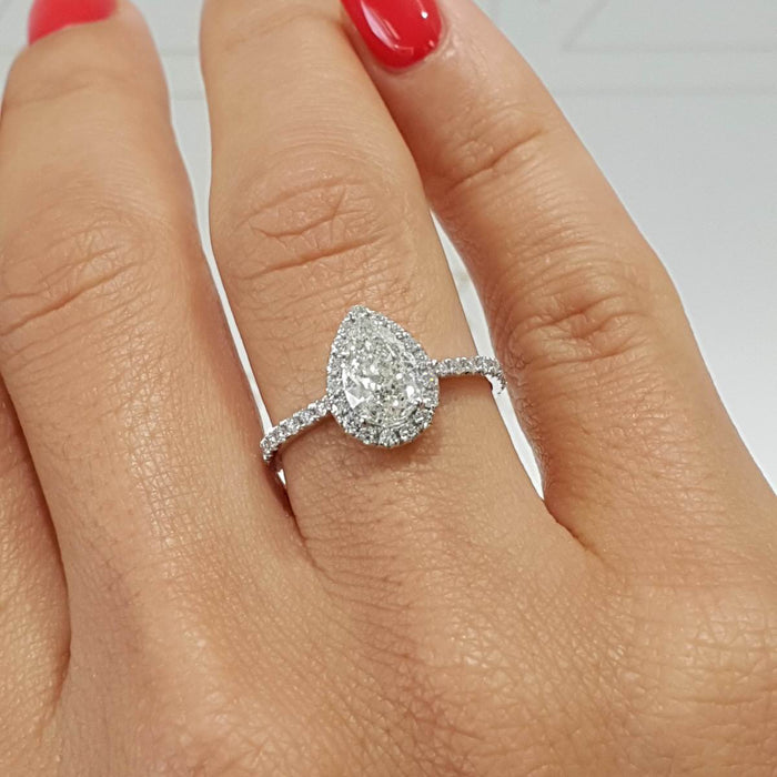 2 Carat PEAR SHAPE HALO STYLE DIAMOND ENGAGEMENT RING - 14K WHITE GOLD #J99163