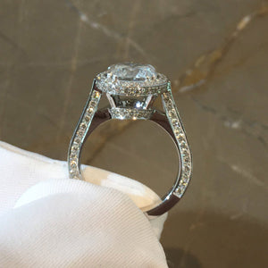 2 CARAT DESIGNER HALO STYLE DIAMOND ENGAGEMENT RING - 14K WHITE GOLD #J99972