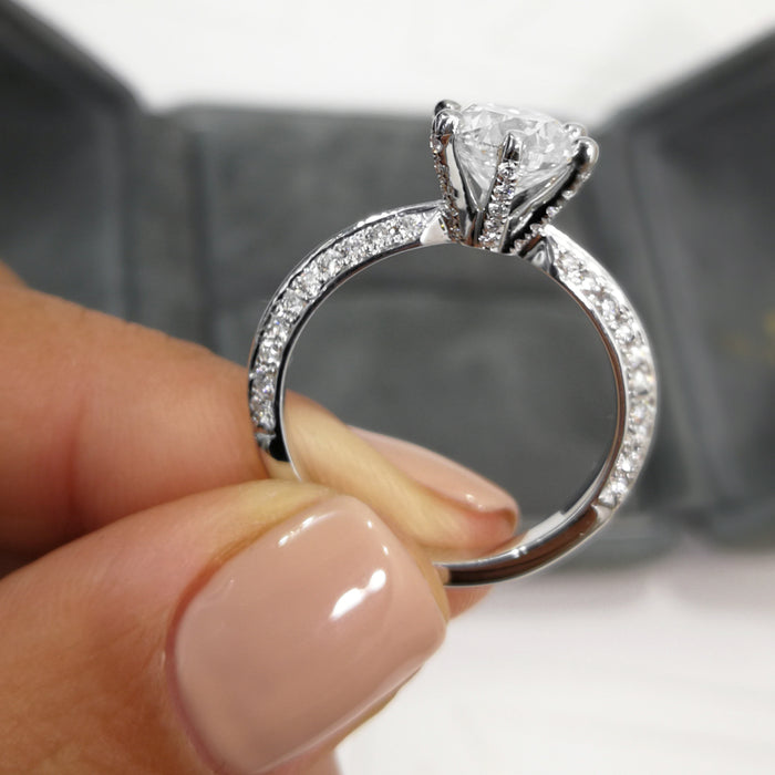 2 Carat F SI1 Knife Edge Style Diamond Engagement Ring -14K White Gold #J99999 - Best Brilliance