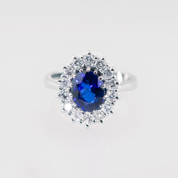 3 CARAT WEIGHT BLUE SAPPHIRE HALO DIAMOND ENGAGEMENT RING - 14K WHITE GOLD #J99922