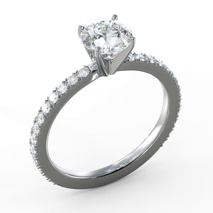 1.5 Carat H-SI1 Round Brilliant Cut Diamond Engagement Ring 18K White Gold #J99132